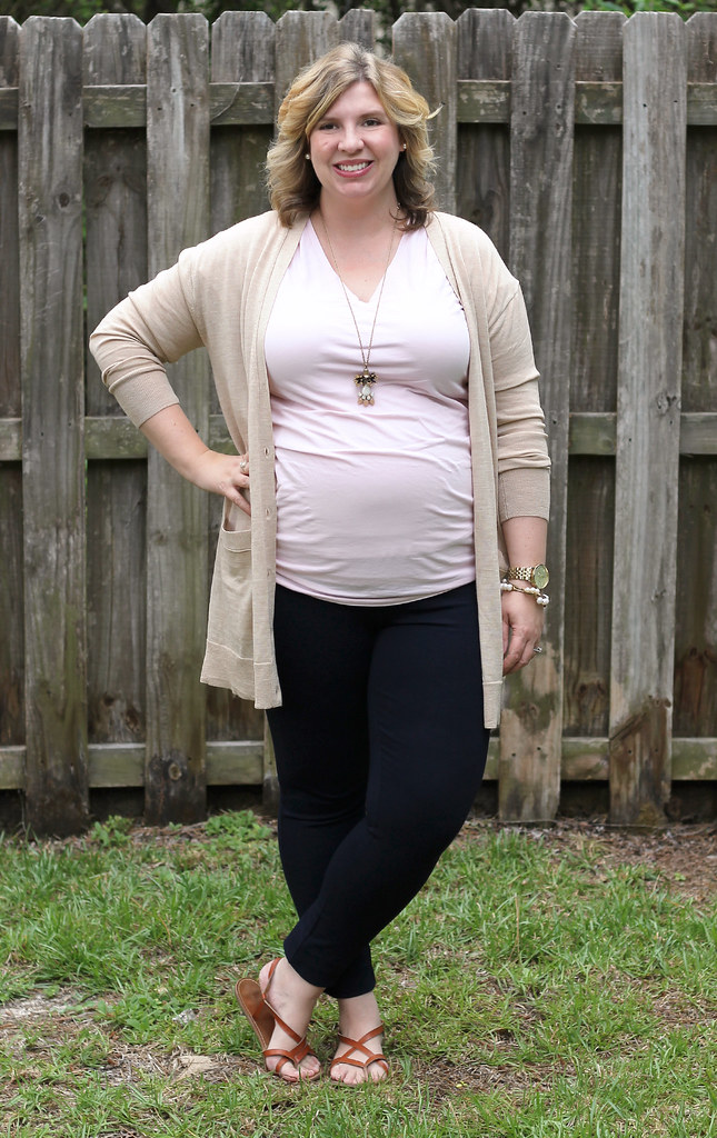 long tan cardigan, pink maternity tee and navy pixie pants_6