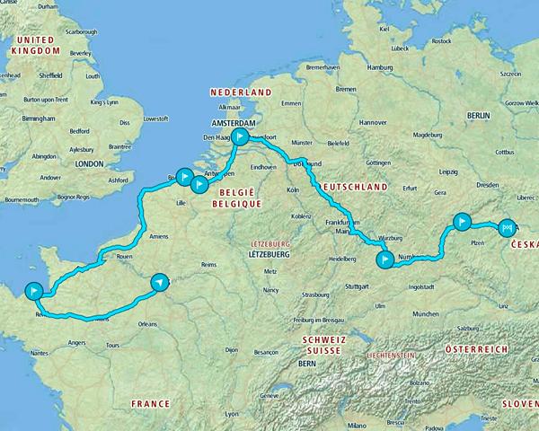 Mapa del itinerario de 8 días por Europa recorriendo lugares menos conocidos