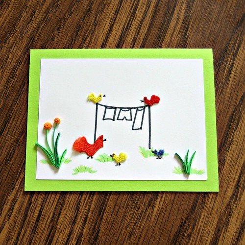 Quilled Note Card with Rick Rack Chicks DIY