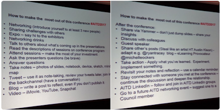 Crowdsourced tips for how to make the most out of this conference.