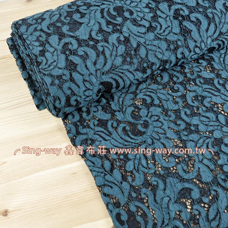 藍綠花黑色線(5.2尺一圖) 典雅高貴 晚宴 喜慶 禮服 高級訂製服服裝布料 LE2990008