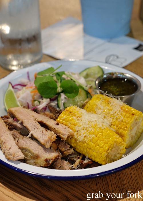 Roast pork with woodfire corn and house slaw from Henry's Block at the Merchants of Ultimo at Broadway Shopping Centre