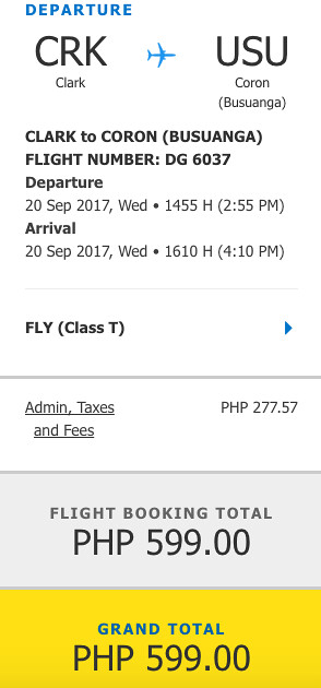 Cebu Pacific Air Promo Clark to Coron September 20, 2017