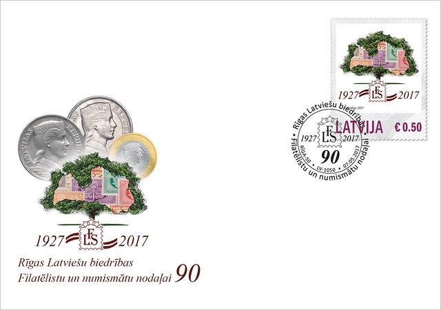 Aploksne: Rīgas Latviešu biedrības Filatēlistu un numismātu nodaļai – 90