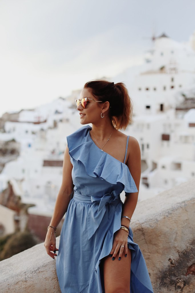The Little Magpie Sandro Paris Blue Dress Santorini