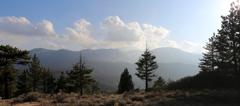 View of San Gorgonio Mountain from our campsite on the ridge above PCT mile 244