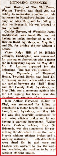 Bucks Herald 12Jun1942 Walter L Casbon motoring offense
