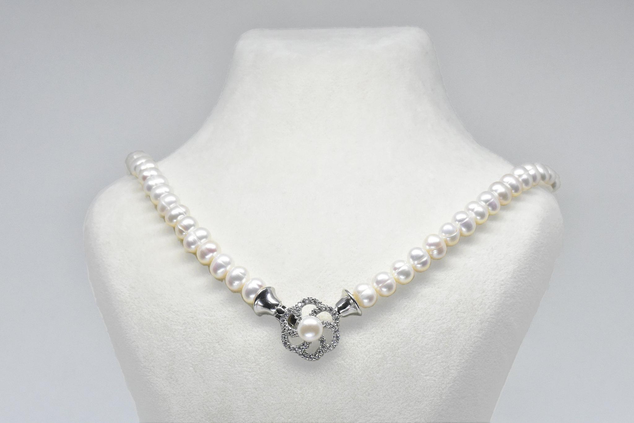 - Ahsen 925K Gümüş Klipsli Doğal Beyaz İnci Kolye-Ah-0040