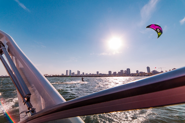 Kite Surfing Along Milwaukee Skyline