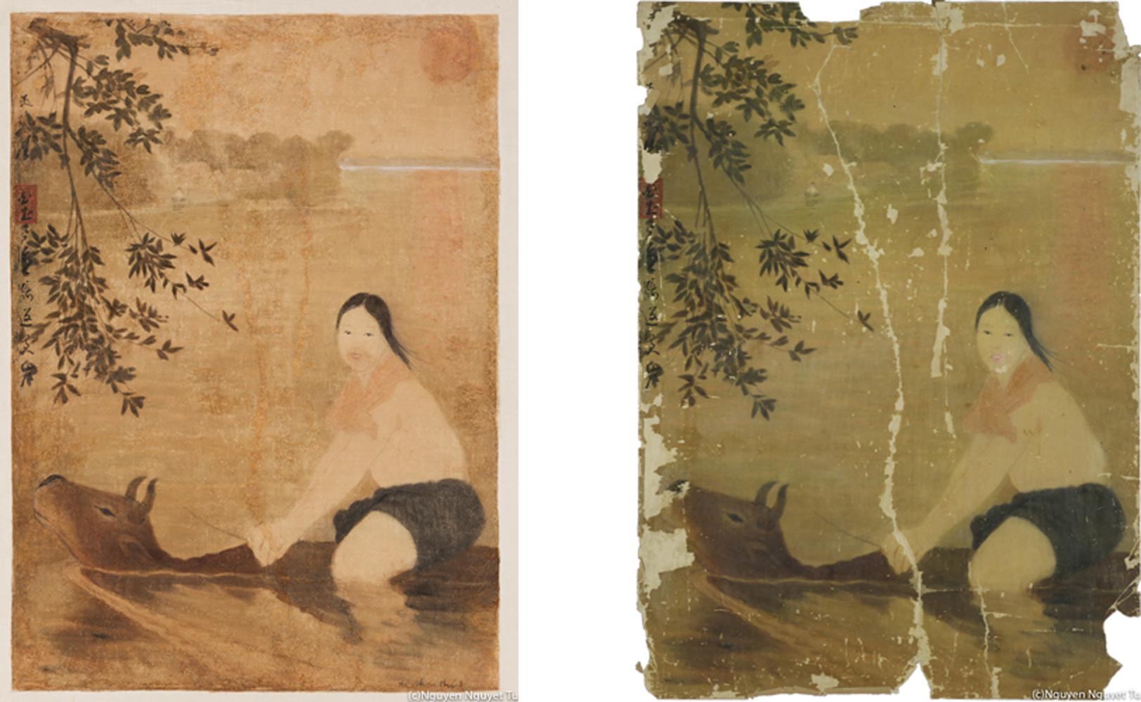 グエン・ファン・チャン《牛に乗って川を渡る女》(1967年、三谷産業株式会社蔵)