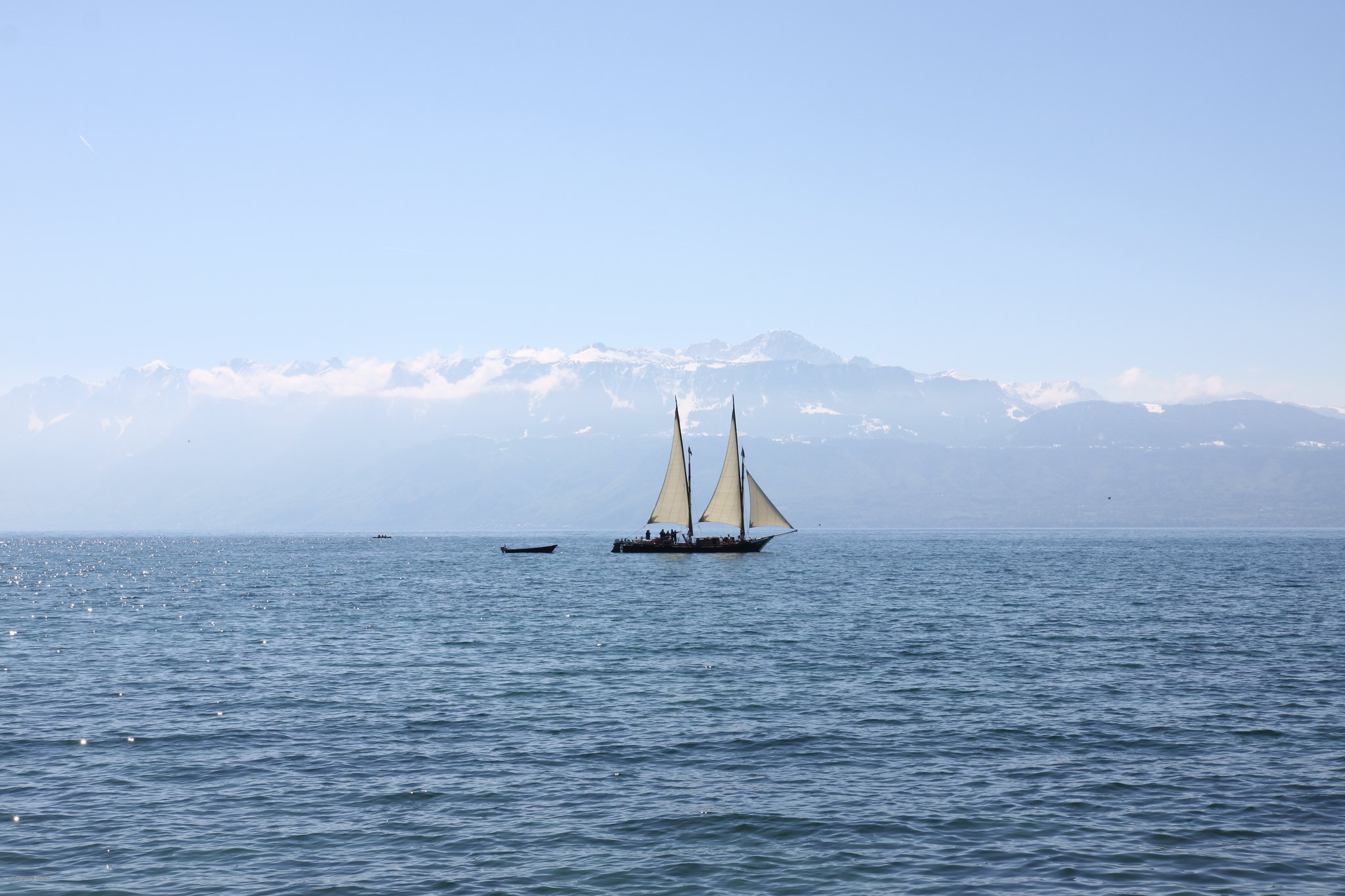Leman lake in Spring