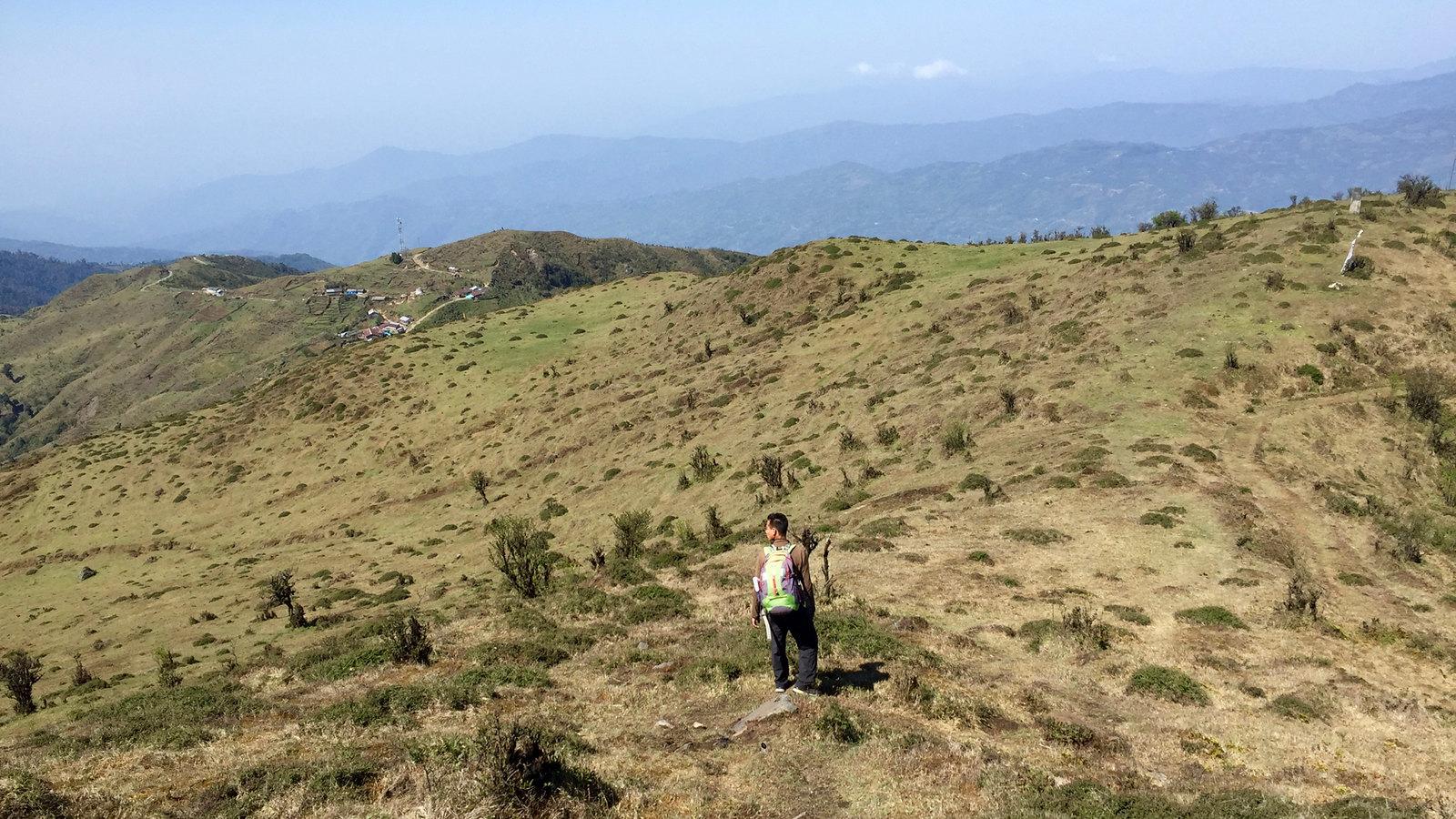 hiking down towards Jaubari