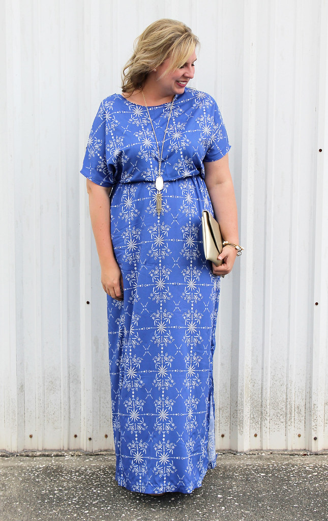 blue maxi dress DIY 2