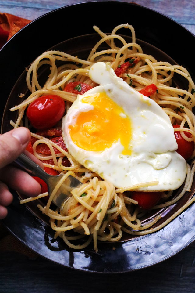 Spaghetti with Fried Eggs, Cherry Tomatoes, and Roasted Red Peppers