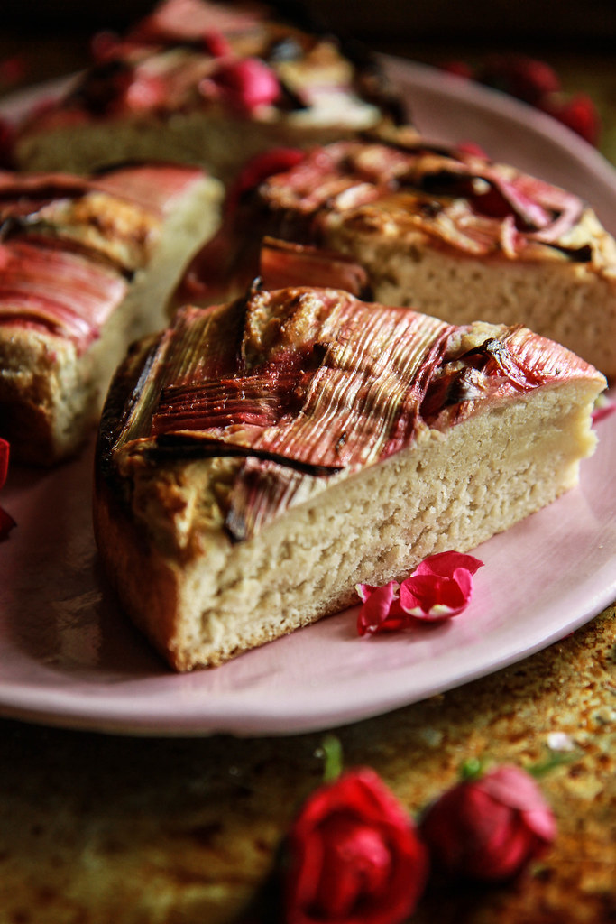 Ginger Vanilla Rhubarb Cake- Vegan and Glutenfree from HeatherChristo.com