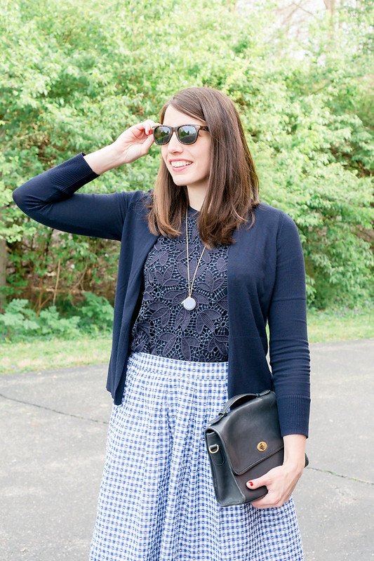 gingham J.Crew skirt + Loft navy lace tank + loft navy cardigan + Target ballet flats; spring work outfit | Style On Target blog