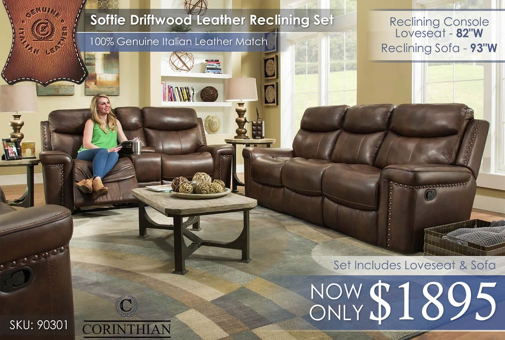 90301 Softie Driftwood Top Grain Leather Reclining Set_MayUpdate