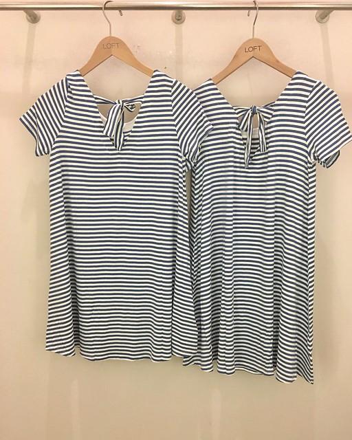 LOFT Striped Tie Back Swing Dress size comparison