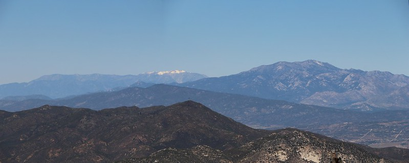 Snowy San Gorgonio and San Jacinto from the Hot Springs Mountain Summit