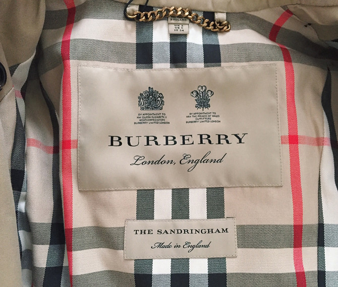 burberry sandringham trench interior lining