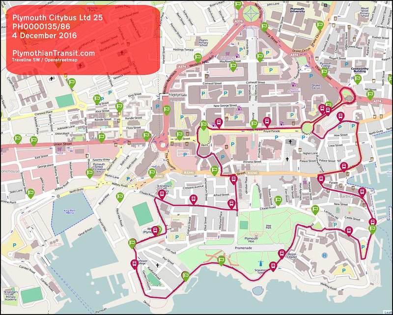 2016 12 04 PLYMOUTH CITYBUS LTD ROUTE-025 MAP