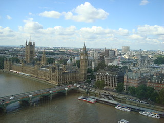 The houses of parliament / palace of Westminster, seen from the London Eye