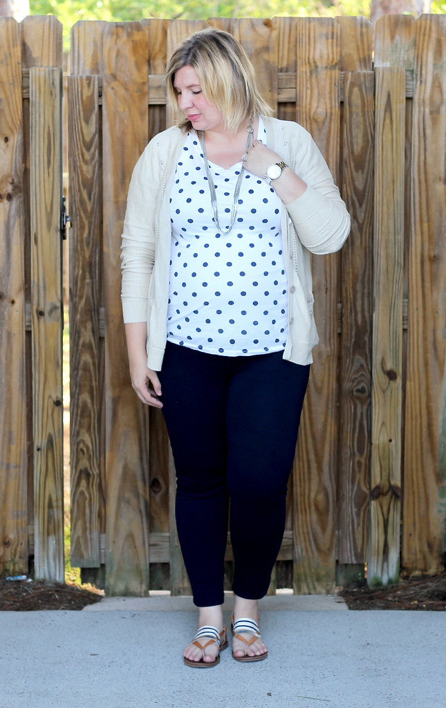 polka dot tee, navy maternity pencil pants, tan cardi 5