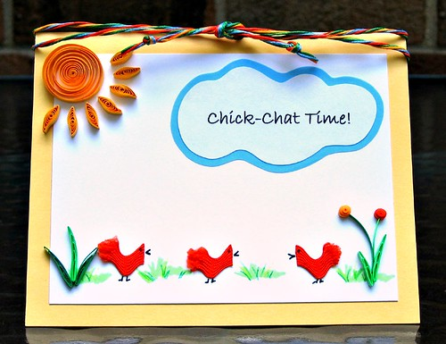 Quilled Rick Rack Chicks Card for CardMaker Magazine
