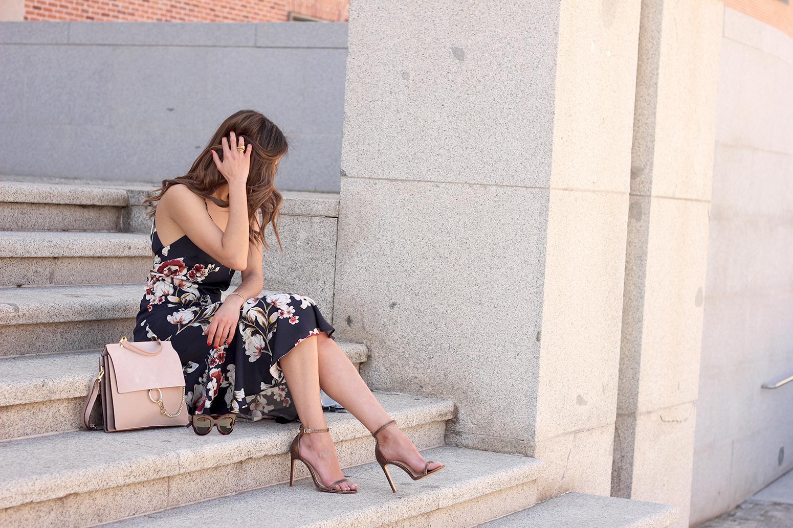 Floral dress denim jacket heels spring outfit style fashion14