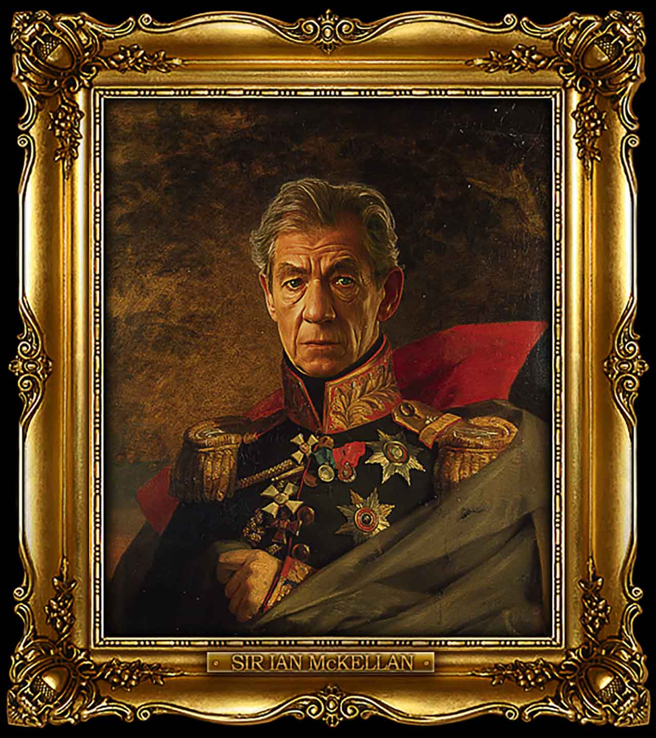 Artist Turns Famous Actors Into Russian Generals - Sir Ian McKellen