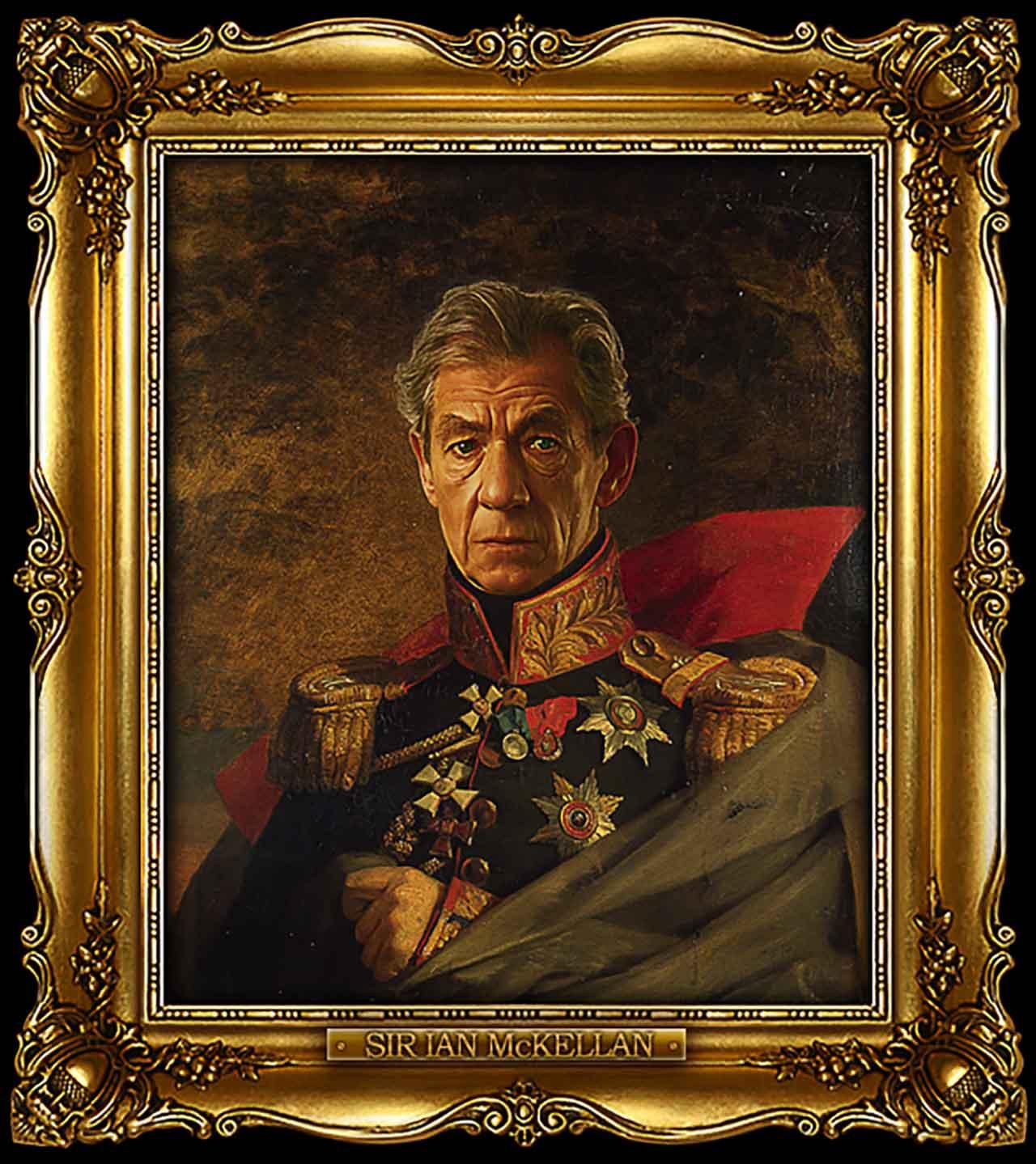 Artist Turns Famous Actors Into Russian Generals - Sir Ian McKellen