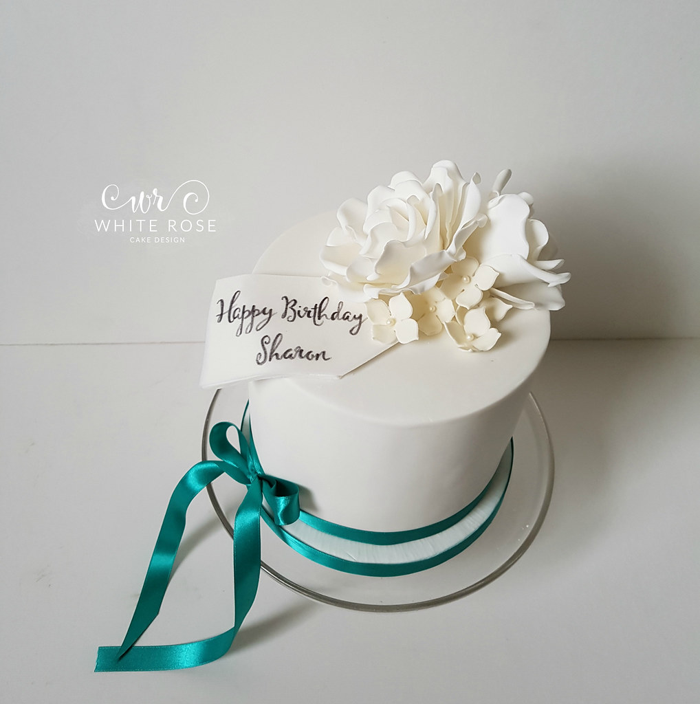 White And Ivory Roses Birthday Cake With Teal Ribbon By Wh Flickr
