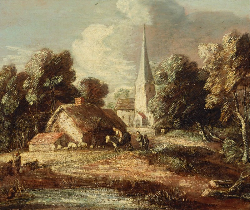 Thomas Gainsborough - Landscape with cottage and church (c.1771)