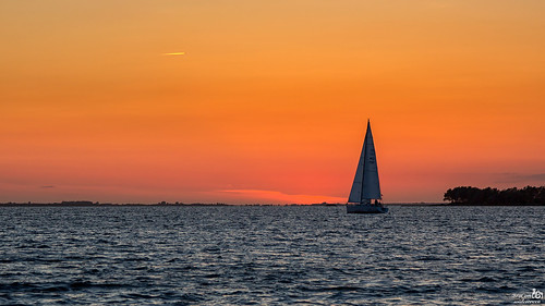 Sailing home after sunset