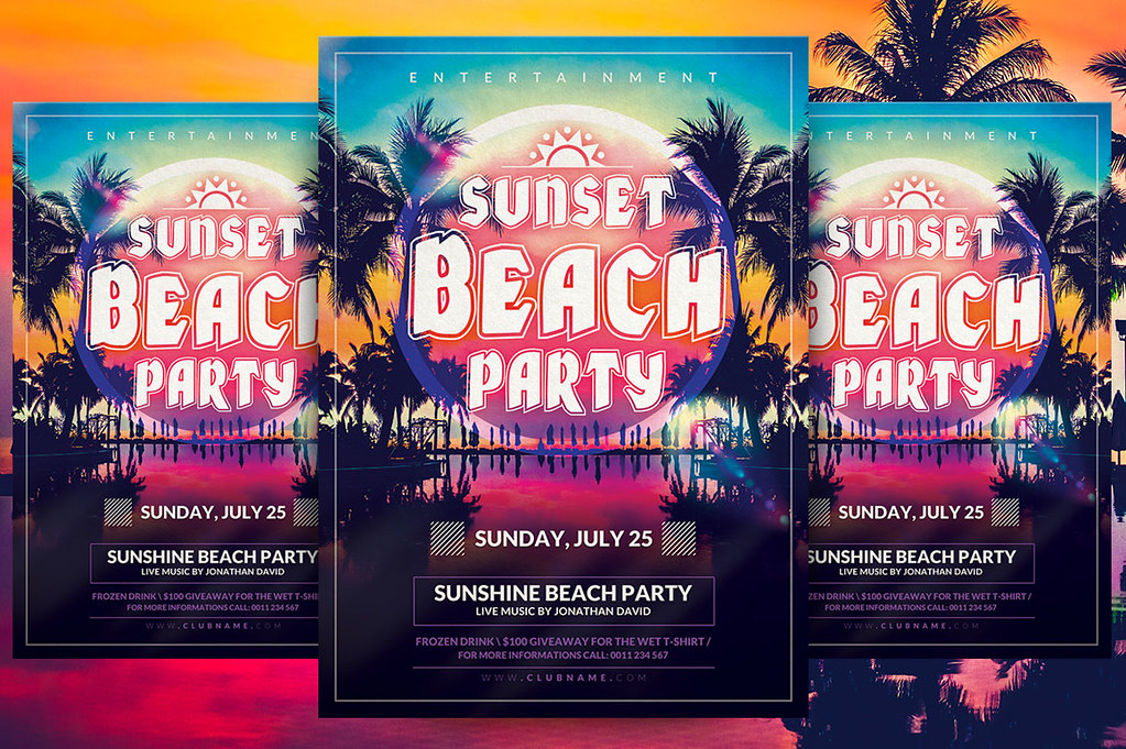 Sunset Beach Party Flyer Template You Can Download The Psd Flickr