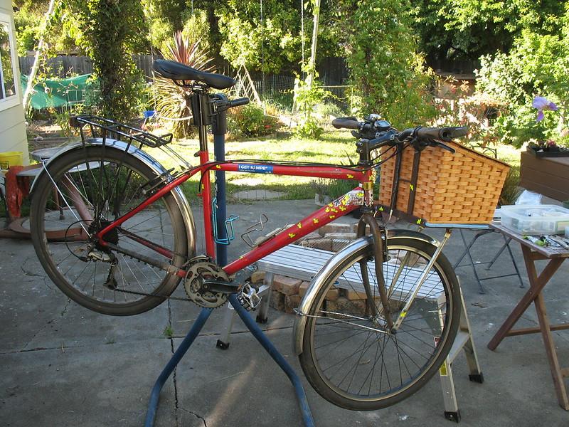 Fresh Amish bike basket install