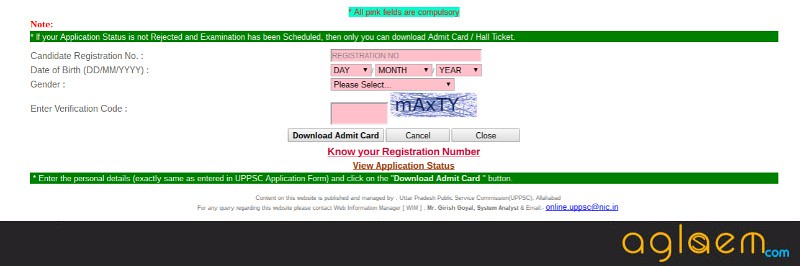 ​UPPSC Assistant Forest Conservator Admit Card 2017