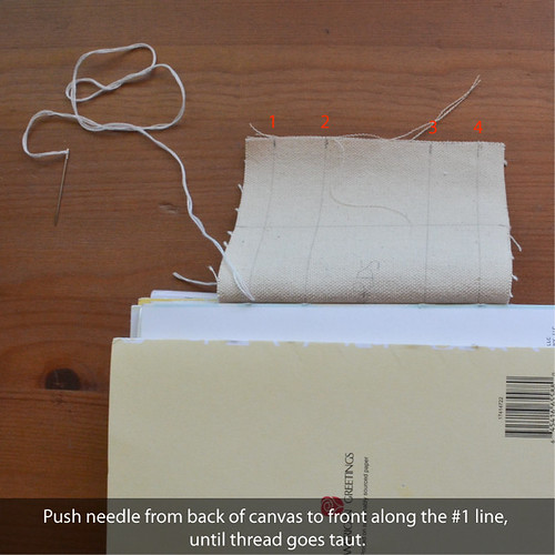 "6. Starting on one of these 2"" lines, push a needle & thread from back of canvas to front, starting at the #1 line."