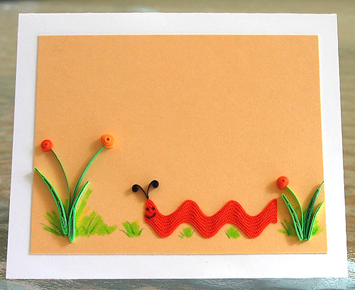 Quilled Rick Rack Caterpillar Note Card