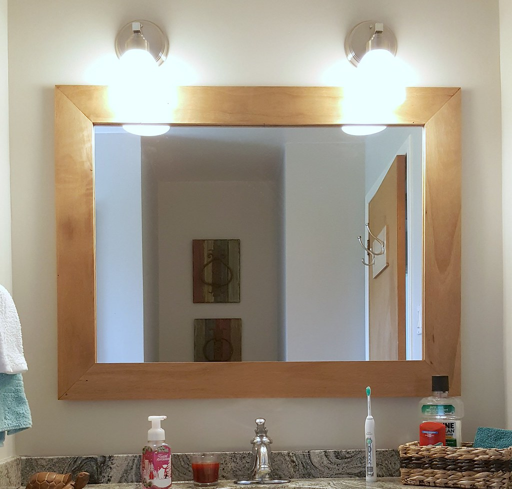 main bathroom after - granite countertop - renovation - custom mirror