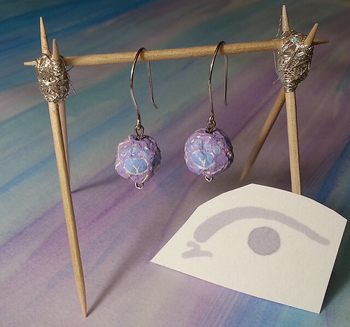 Mana Saber Inspired Hand Crafted Silver and Upcycled Hand Painted Mache Earrings - Contact me for details | by alooktwicethought