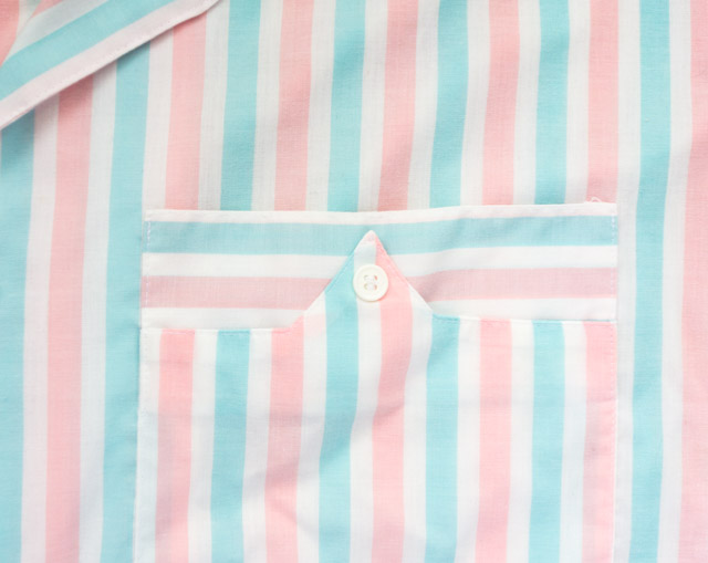 pastel striped blouse with interesting pocket detail