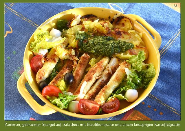 Farbenfroh speisen mit Chefköchin Karla Kunstwadl: Panierter, gebratenen Spargel auf einem bunt dekorierten Salatbett mit selbst gemachtem Basilikum-Mandel-Pesto ... Foto: Brigitte Stolle, Mannheim