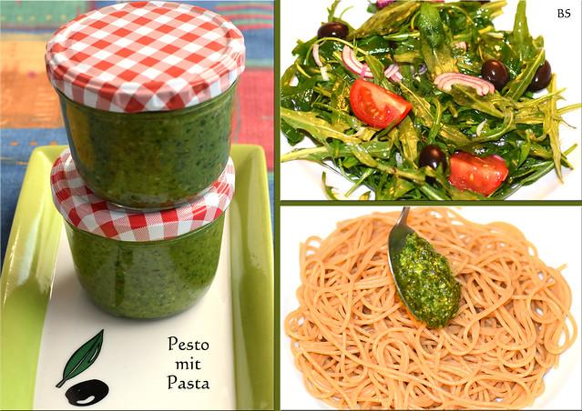 Pasta (hier: Vollkorn-Spaghetti) mit Basilikum-Mandel-Pesto ... selbst gemachtes DIY-Pesto ... Salatmarinade mit Pesto ... Foto: Brigitte Stolle 2017