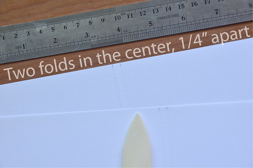 "14. Use Bone Folder to Press 2 Centered Lines, 1/4"" from each other"