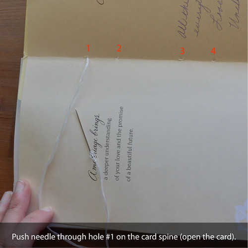 7. Push needle & thread through hole #1 of the first card spine (you'll need to open the card).
