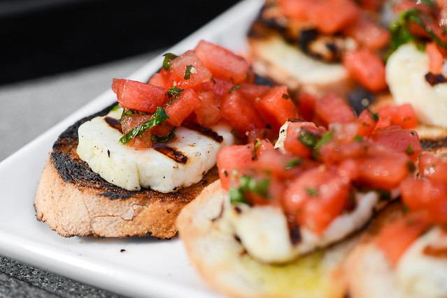 Halloumi Toasts with Watermelon Salad