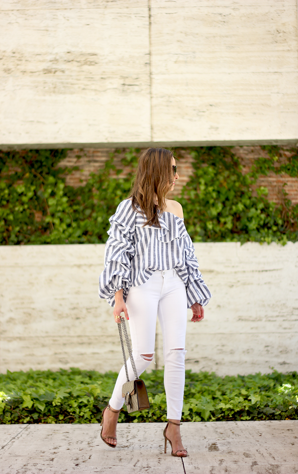 off the shoulder striped top ripped jeans gucci bag heels outfit06
