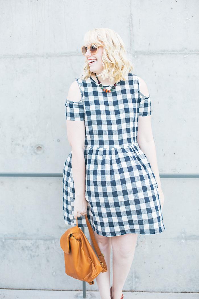austin fashion blogger writes like a girl asos cold shoulder gingham dress3