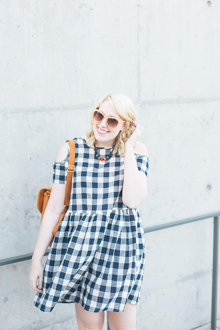austin fashion blogger writes like a girl asos cold shoulder gingham dress2